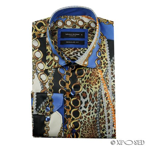 Gold Chain Casual Blouse Motif mens italian designer style shirt smart casual silk feel black gold grey ebay