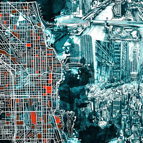 chicago map drawing chicago map drawing collage painting by bekim