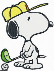 Snoopy golf machine embroidery design