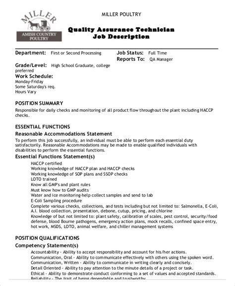 Quality Assurance Technician Description 10 quality assurance description templates pdf doc free premium templates