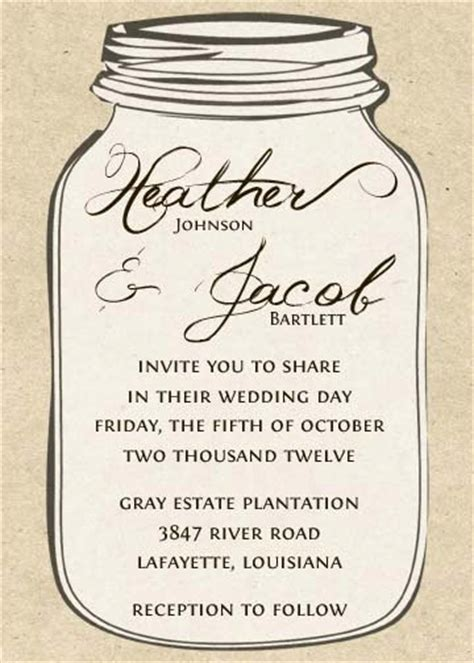6 Best Images Of Free Printable Mason Jar Invitation Template Printable Mason Jar Wedding Jar Invitation Template