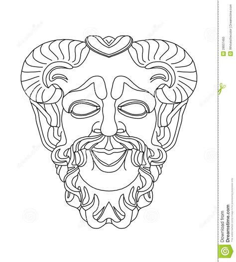 printable greek mask template greek theatrical mask of satyr stock illustration