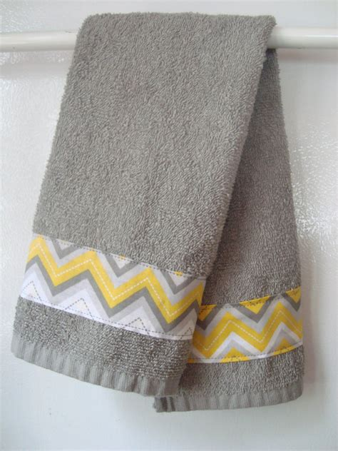 Handmade Towels - towel gray yellow chevron towel handmade grey and