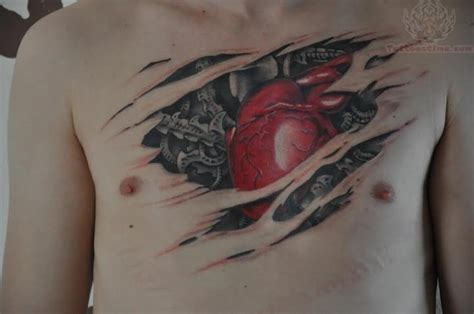 biomechanical heart tattoo rip skin biomechanical