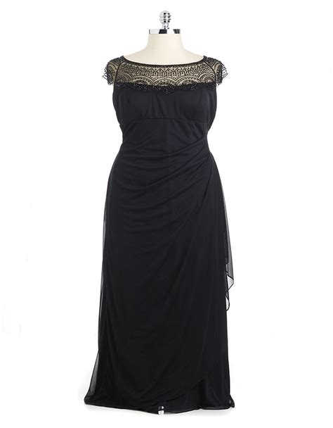xscape beaded illusion gown xscape beaded illusion neck ruched gown in black lyst