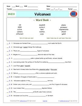 printable volcano quiz bill nye volcanoes worksheet answer sheet and two
