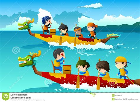 cartoon boat race kids in a boat race stock vector illustration of event