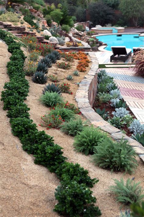 back yard landscaping design idea with steep slope lake