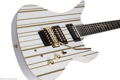 Synister Gates Sustainik schecter synyster gates custom s white with gold sustainiac reverb