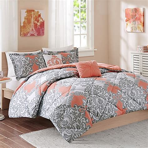 cozy comforter sets cozy soft 174 mia comforter set in coral grey white bed