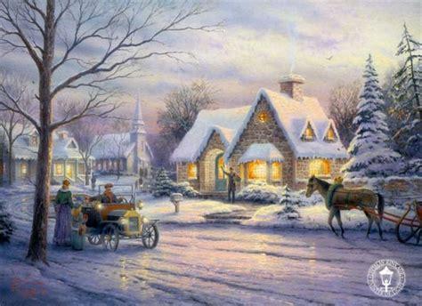 christmas wallpaper kinkade thomas kinkade winter winter fan art 23436543 fanpop