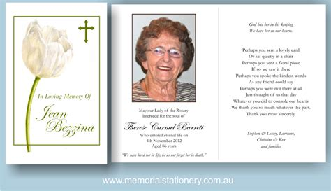 memorial card template funeral thank you cards white tulip cross memorial