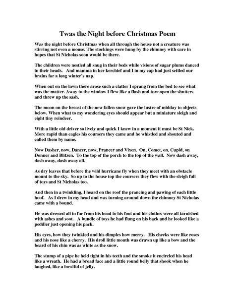 printable version twas the night before christmas night before christmas poem printable merry christmas