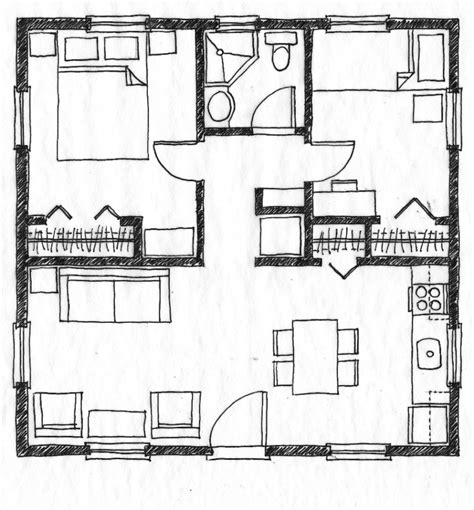 Simple Two Bedroom House Plans by Bedroom Designs Small House Floor Plan Without Legend Two