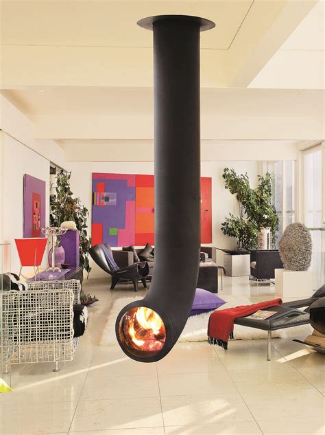 Central Fireplace Design by Central Hanging Steel Fireplace Renzofocus By Focus
