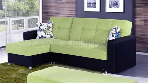 Green Microfiber Sectional by Lego Sectional Sofa Convertible In Green Microfiber By