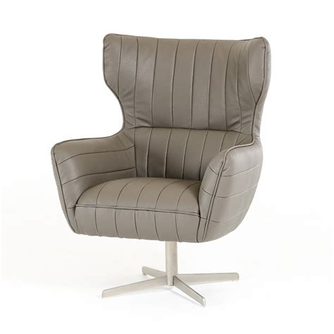 Grey Leather Swivel Accent Chair With Tufting El Paso Grey Leather Swivel Chair