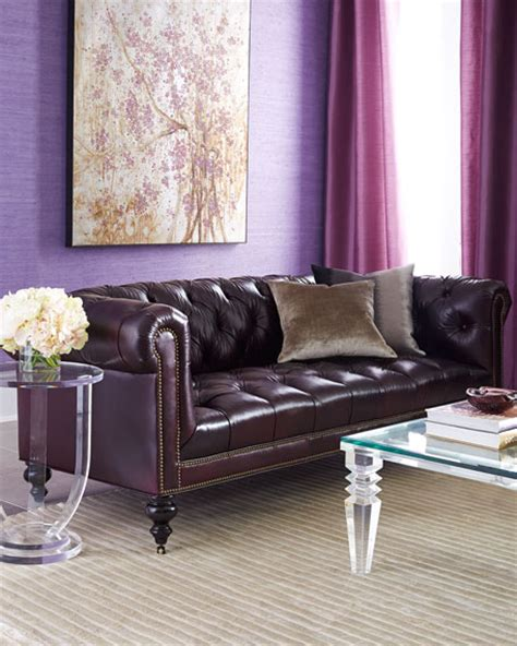 morgans chesterfield hickory tannery aubergine chesterfield leather sofa