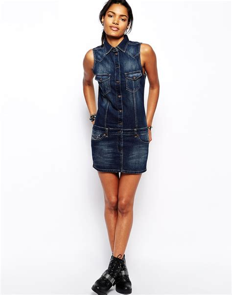 Mini Dress Amanda Denim lyst diesel denim mini dress in blue