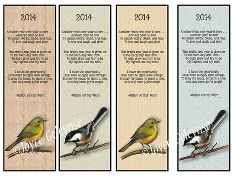 printable poetry bookmarks printable bookmarks poem for new year birds 2014