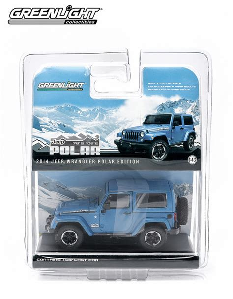 Greenlight 1 43 2014 Jeep Wrangler Polar Limited Edition Hydro Blue all things jeep collectible 2014 jeep wrangler polar limited edition model in hydro blue 1