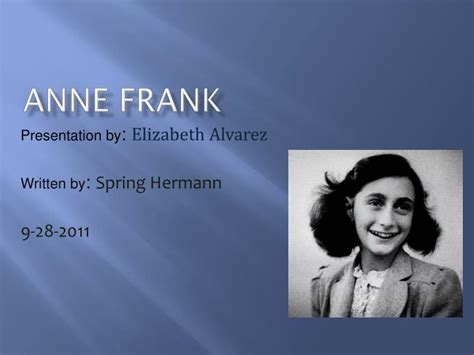anne frank biography powerpoint ppt anne frank powerpoint presentation id 2246402