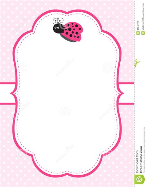 pink ladybug invitation stock vector image 41072774