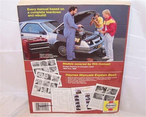 service manuals schematics 1984 dodge daytona free book repair manuals haynes dodge daytona chrysler laser repair manual 1984 to 89