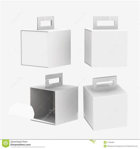 handle box template white paper box with handle clipping path included