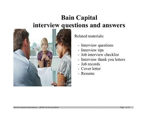 Bain Capital Mba Internship by Bain Capital Questions And Answers