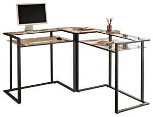 Walker Edison Computer Desk With Hutch Walker Edison C Frame Glass And Metal L Shaped Computer