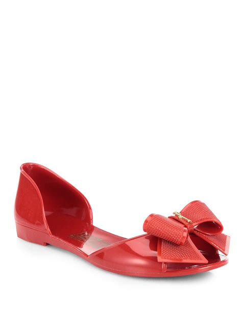 Jelly Shoes Gardenia Slide ferragamo jelly bow peep toe slides in lyst