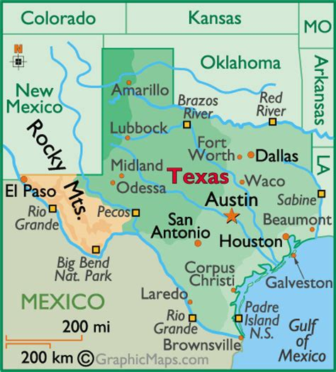 atlas texas map texas large color map