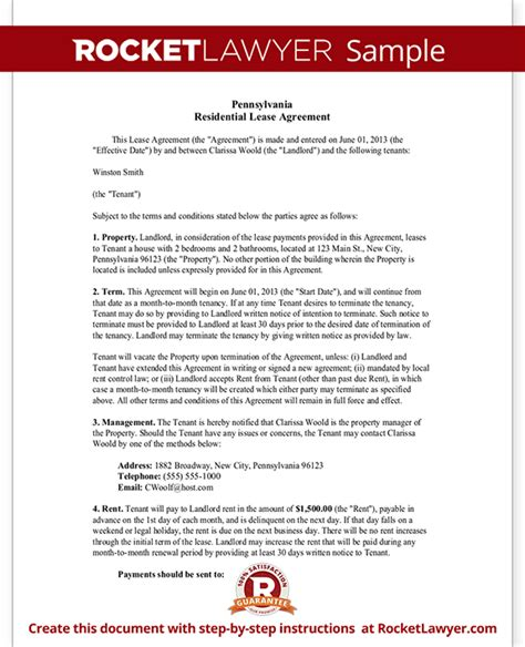 Rental Lease Agreement Pa Pennsylvania Residential Lease Agreement Form Pa Residential Lease Agreement Template