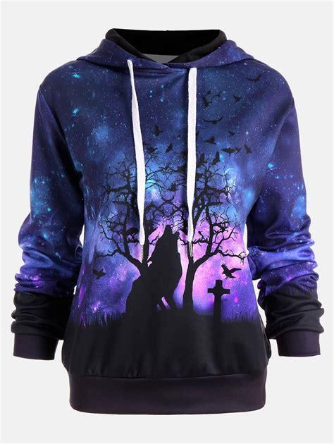 Jaket Sweater Hoodie For Persija Hoodie colormix 2xl galaxy wolf print drawstring hoodie rosegal