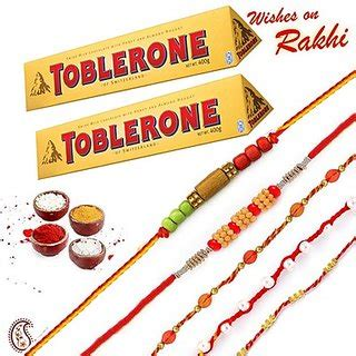 Toblerone Set buy 02 pc toblerone chocolate and set of 05 rakhi her