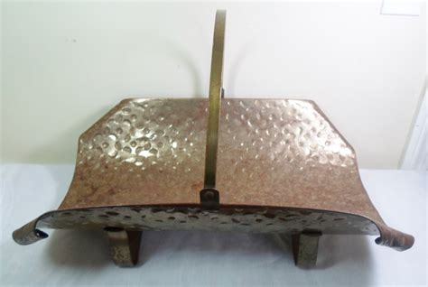 Fireplace Wood Holder by Vintage Mid Century Mod Hammered Tin Log Wood Fireplace