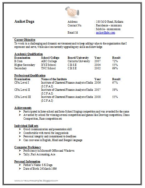 blank cv format for freshers awesome one page resume sle for freshers career cv resume sle template
