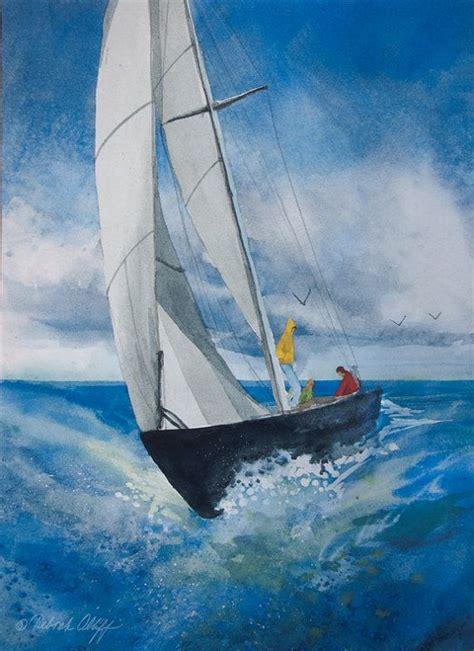 sailing boat in big waves cruising watercolor sailboat wave sailing