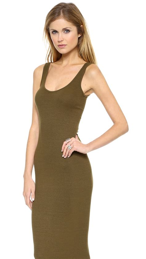 enza costa ribbed tank dress in green army green lyst