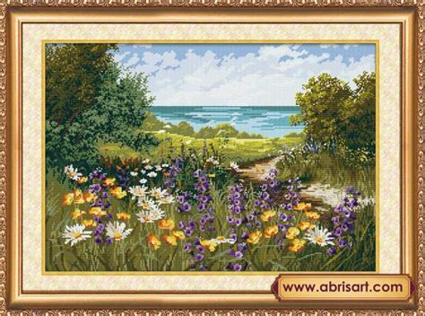 fiori ricamo prato dei fiori kit ricamo punto croce perlinissima