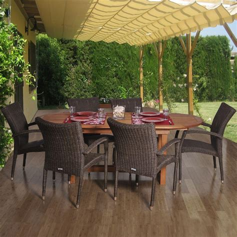Outside Patio Dining Sets Amazonia Lemans Deluxe 7 Patio Dining Set Lemans Set Deluxe The Home Depot