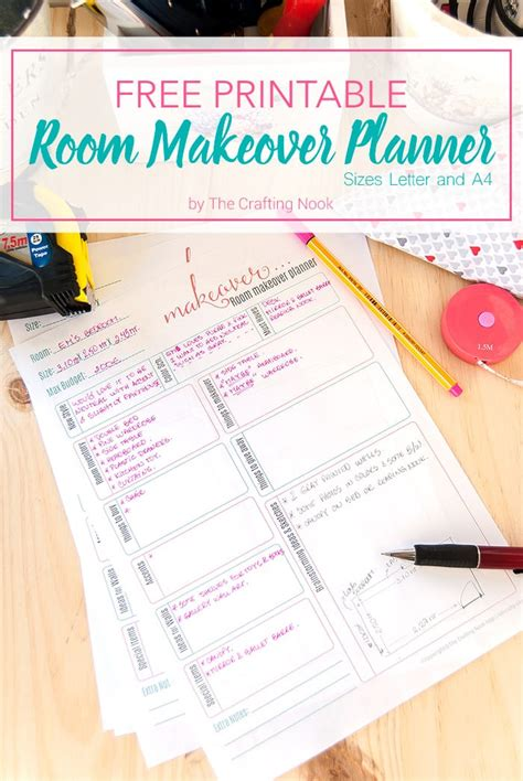 free room planners free room makeover planner printable the crafting nook