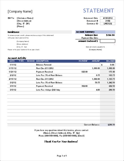 billing statement template free download templates