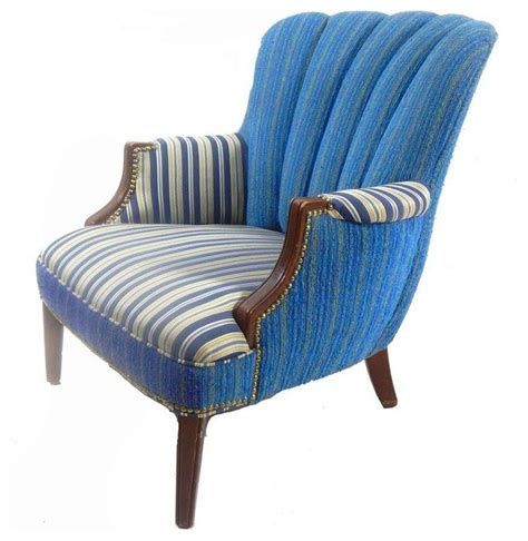 blue and white striped club chair pre owned channel back blue striped club chair