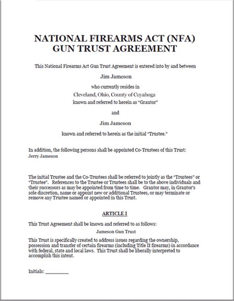 Gun Trust Legal Forms Software Gun Trust Template