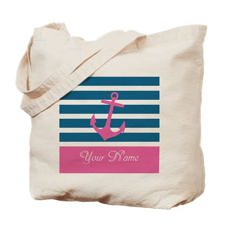 Anchor Stripe Bag pink anchor on stripe personalized tote bag by