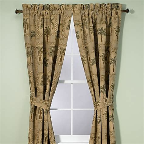 palm tree curtain panels buy palm grove 84 inch window curtain panel pair from bed