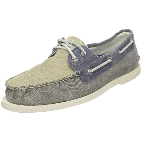 sperry top sider mens a o salt wash canvas boat shoe in