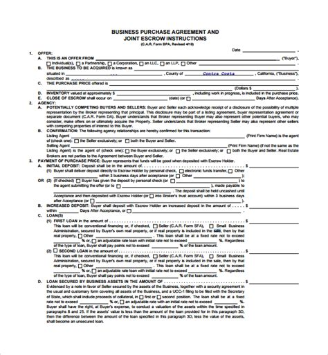 Sle Business Sale Agreement 8 Free Documents Download In Pdf Word Sle Business Contract Template
